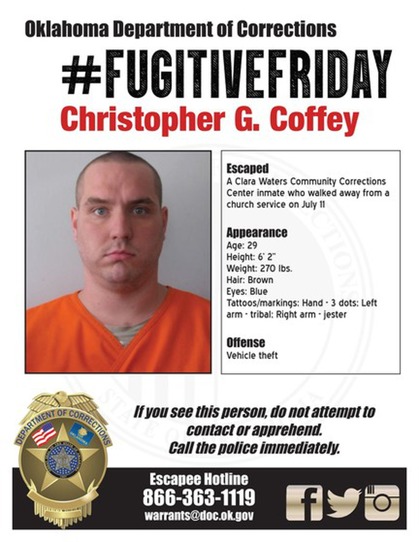 Fugitive Friday: Christopher Coffey
