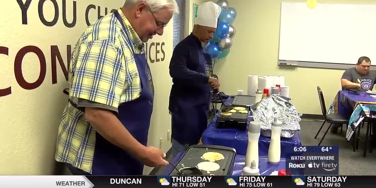 Lawton Police Officers honored with Griddles and Gratitude event
