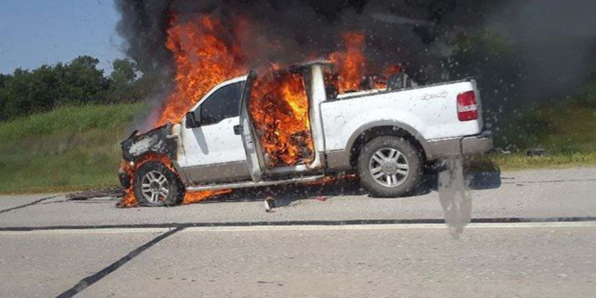 Pickup fire slows traffic on I-44