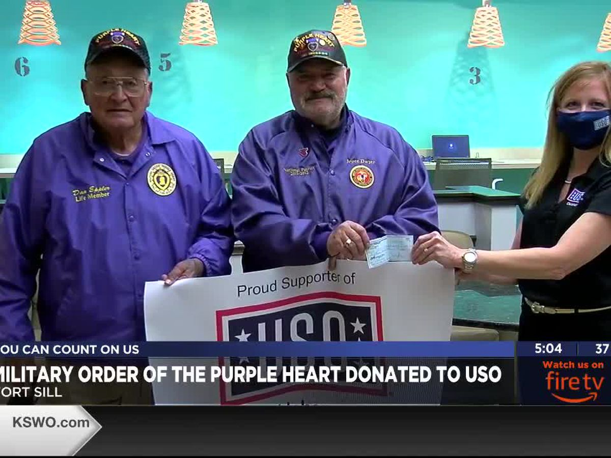 Okla. USO receives donation from Military Order of the Purple Heart