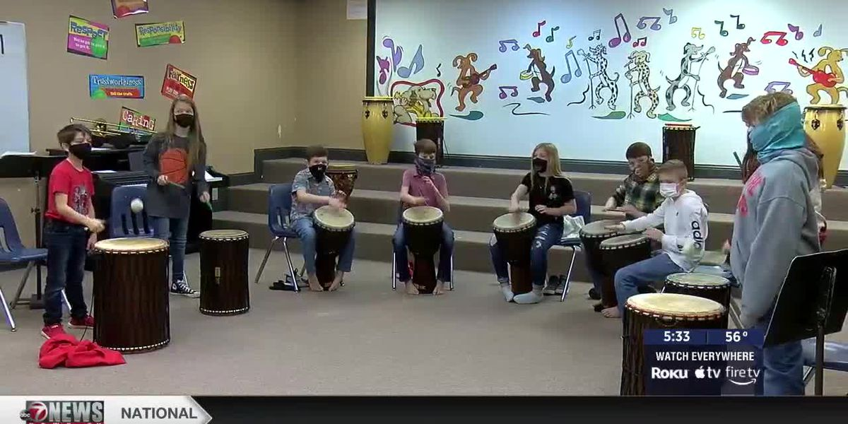 Comanche Elementary students learn African drums for Black History Month