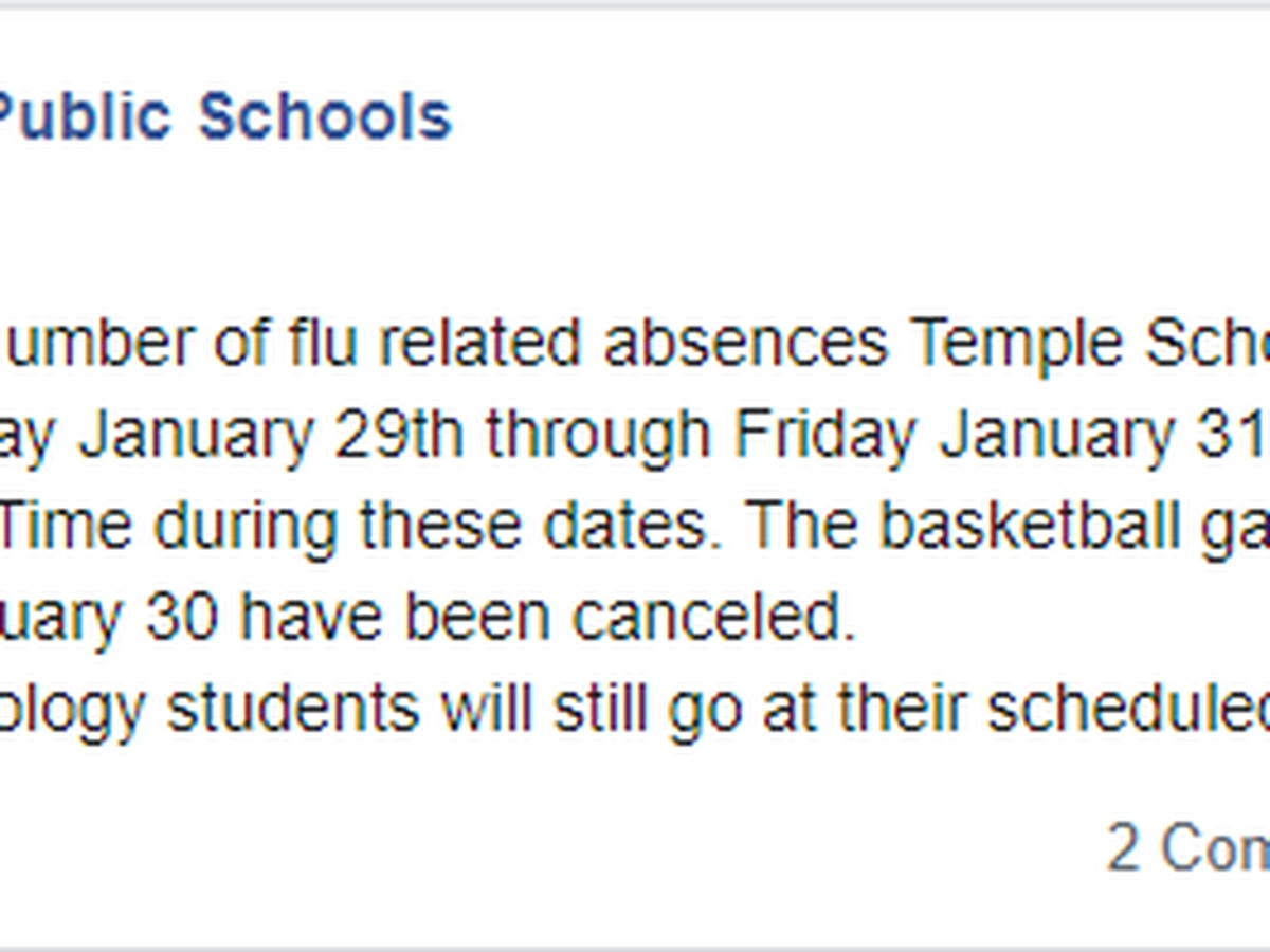 Temple Public Schools closed due to flu