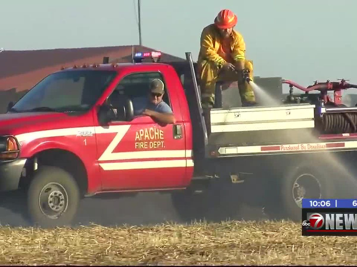 Crews fight grass fire near Apache