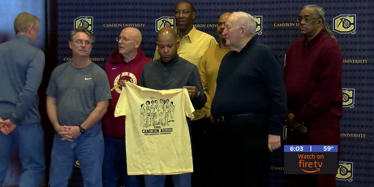 Cameron Men's Basketball team from 1980 celebrate reunion