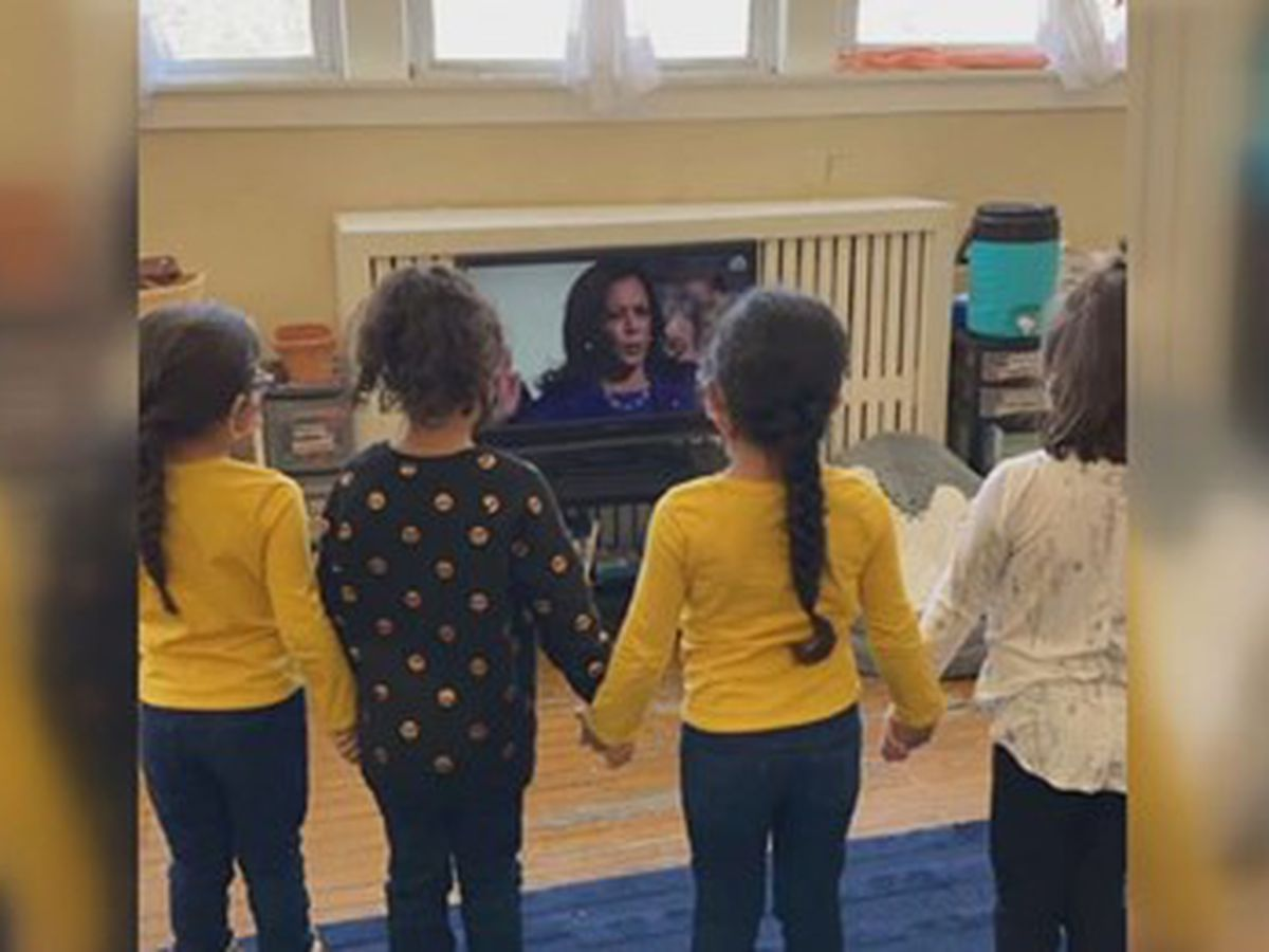 Kindergartners stand in solidarity, inspired by swearing-in of Vice President Kamala Harris