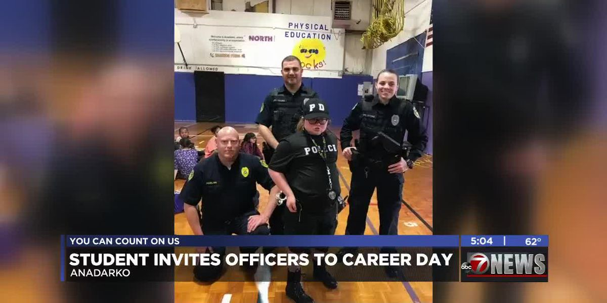 Student dresses up as School Resource Officer for career day