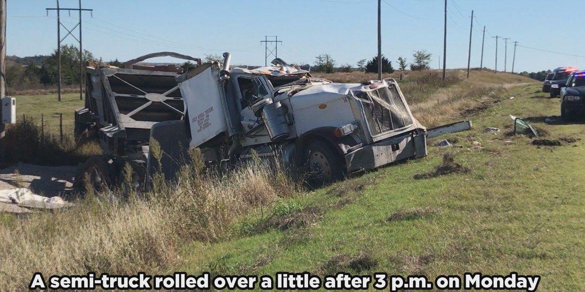 Semi rolls over on Highway 62