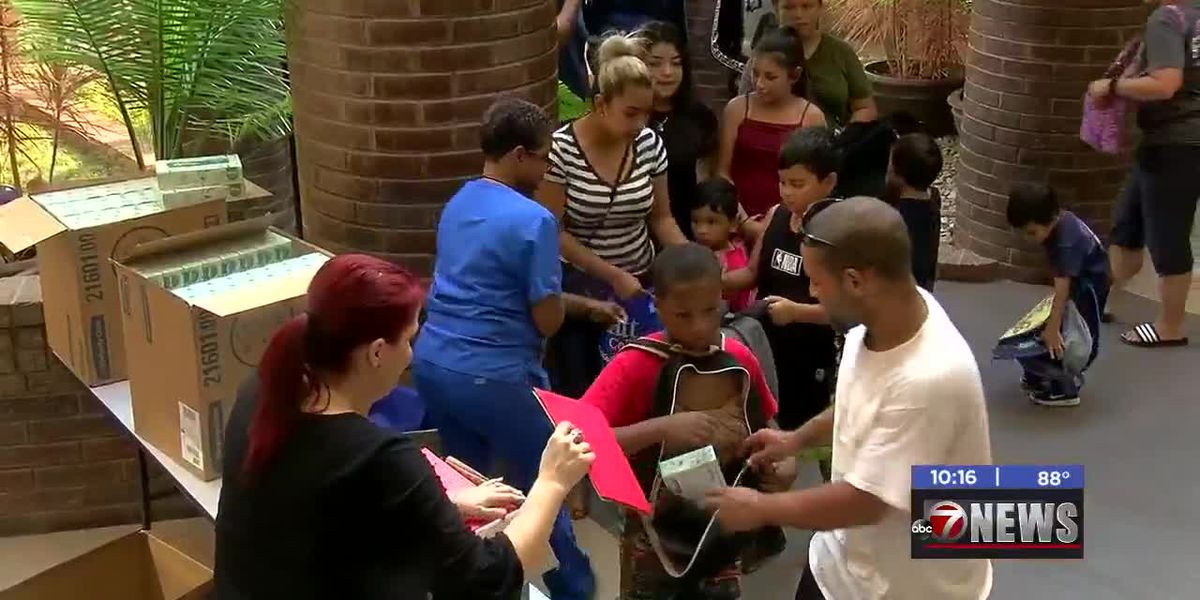 Platt College holds school supply giveaway