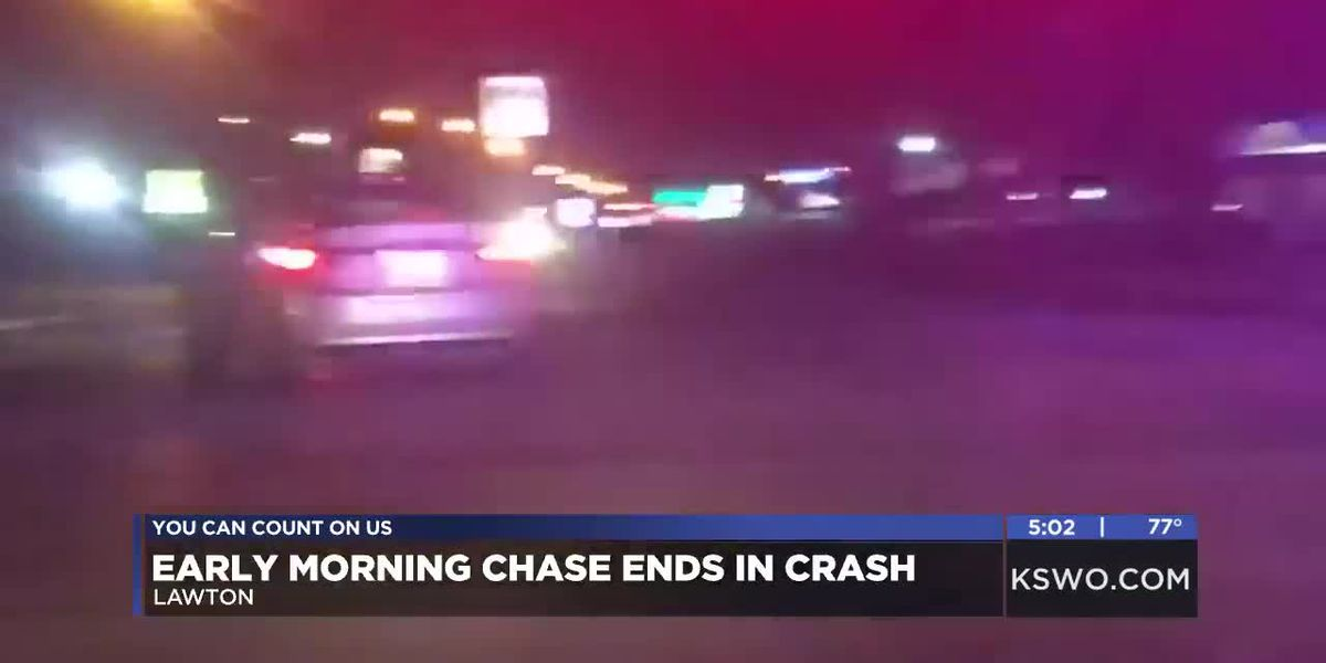 Friday morning police chase in Lawton ends in crash
