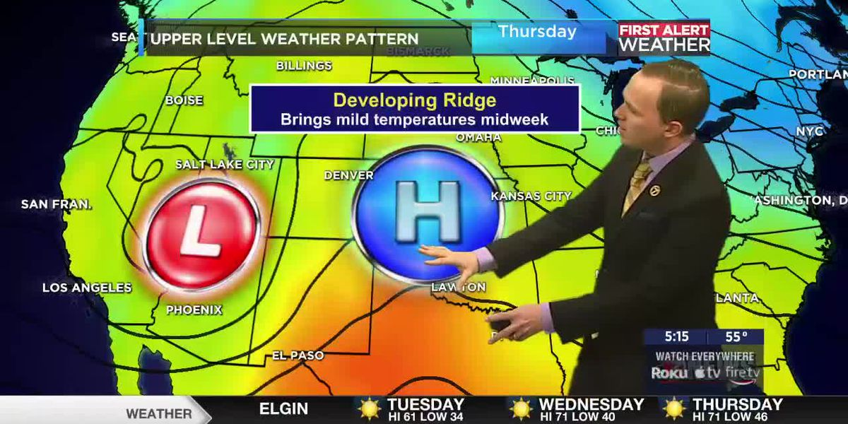 7News First Alert Weather: Expanding upper level ridge brings above average temperatures midweek