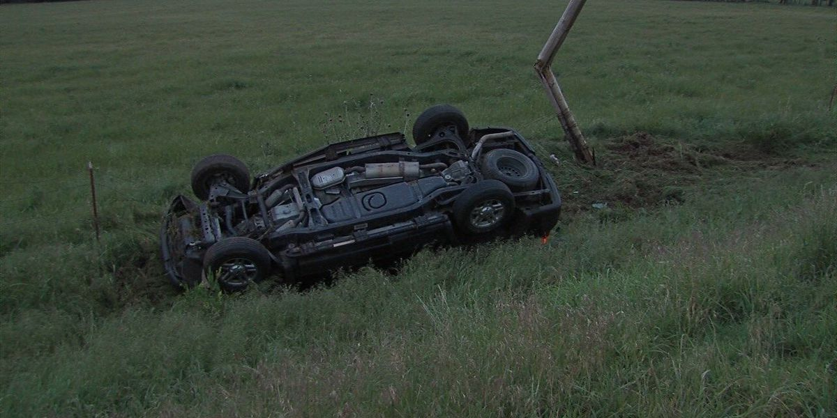 Driver found a mile away from rollover crash