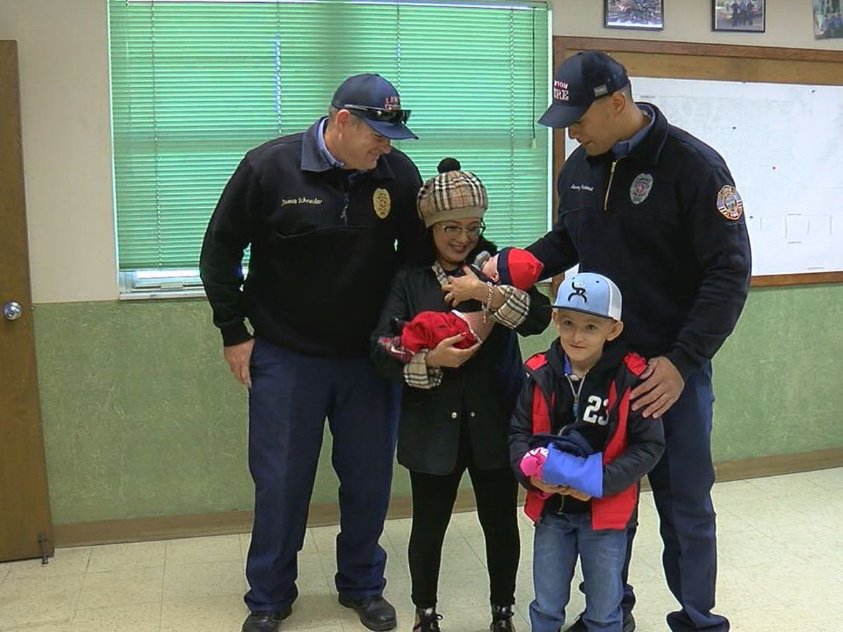 Lawton mom meets firefighters who helped save her and her baby