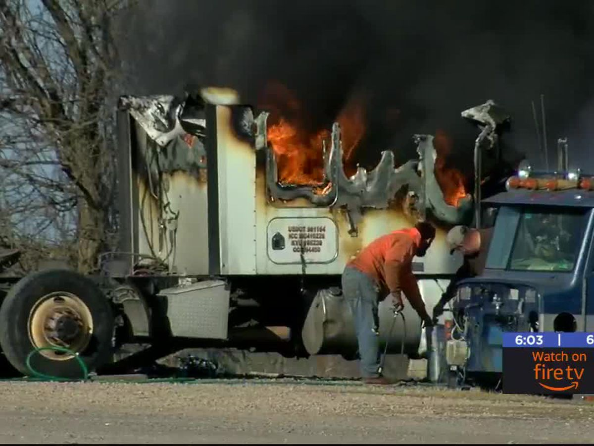 Semi-truck catches fire in east Lawton