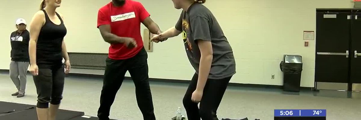 Students learn self defense at Cameron University-3/11/2020