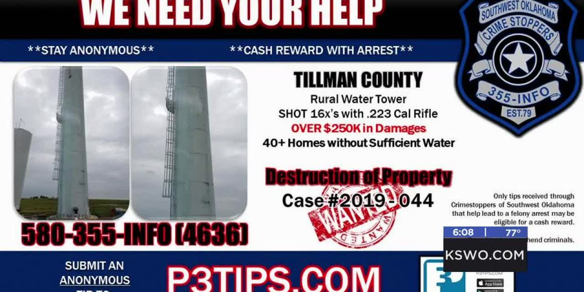 Reward offered in Tillman Co. water tower shooting