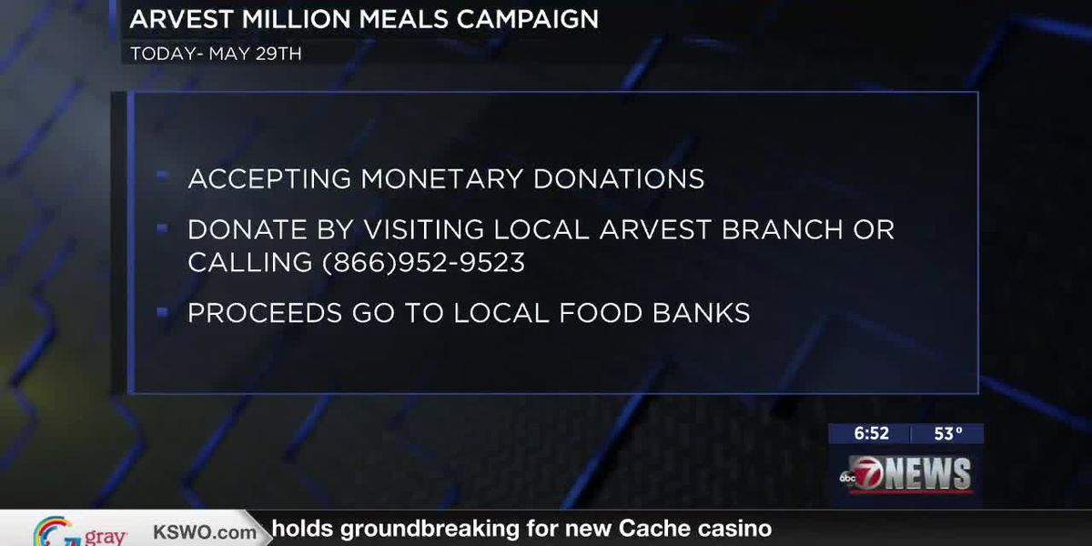 Arvest Million Meals Campaign running now until May 29th