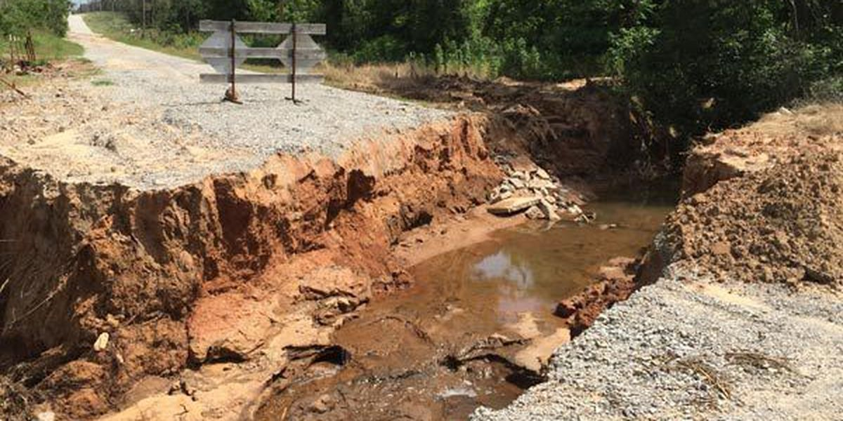 Stephens County roads washed away by floods