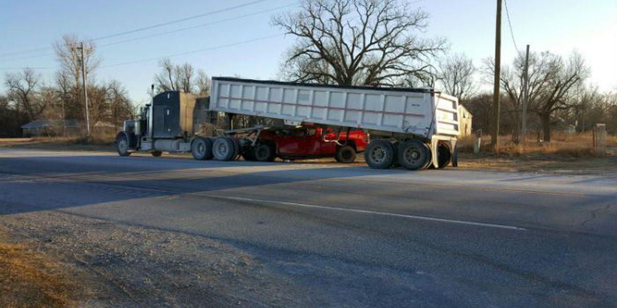 Pickup and semi crash reported in north Comanche County