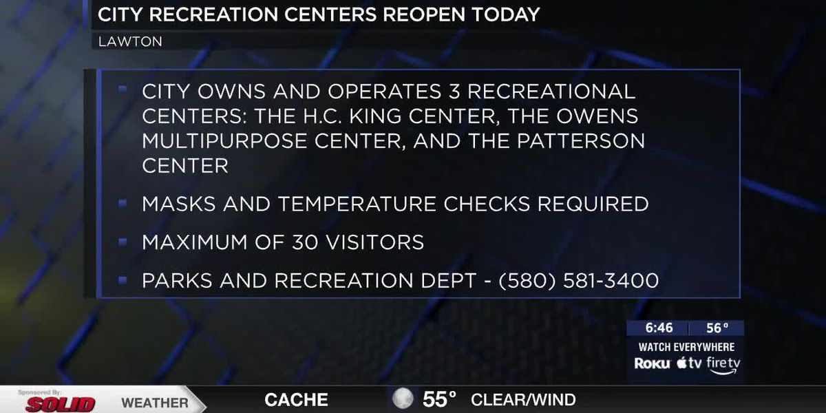 Lawton Recreation Centers opening April 12th.
