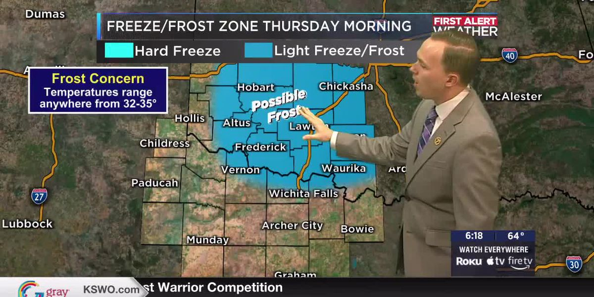 7News First Alert Weather: Much cooler tomorrow afternoon with possible frost for parts of Texoma Thursday morning