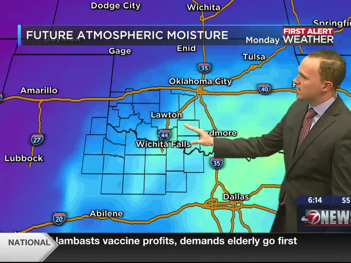 7News First Alert Weather: Monday, January 18, 2021 - Increasing moisture to bring hit & miss showers to parts of Texoma this week