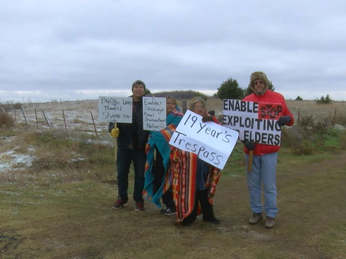Native American family protests oil manufacturer for trespassing