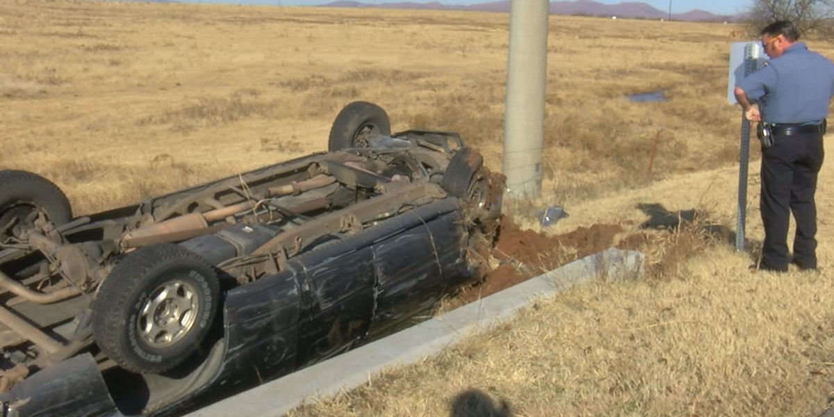 Rollover accident sends one to the hospital on Monday morning