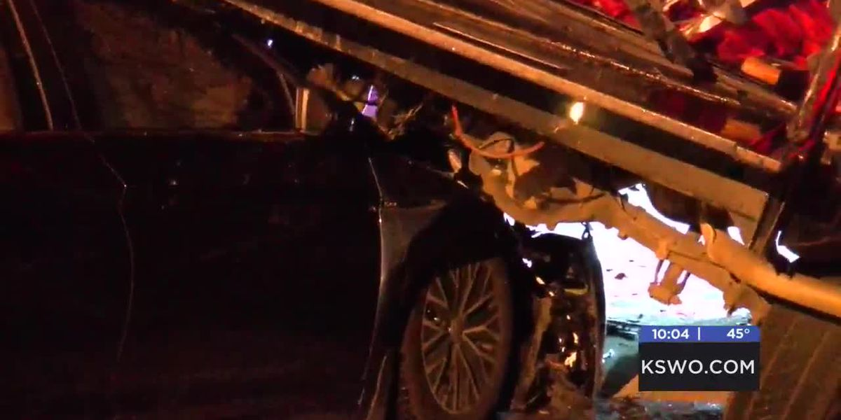 East Lawton crash leaves truck on top of car