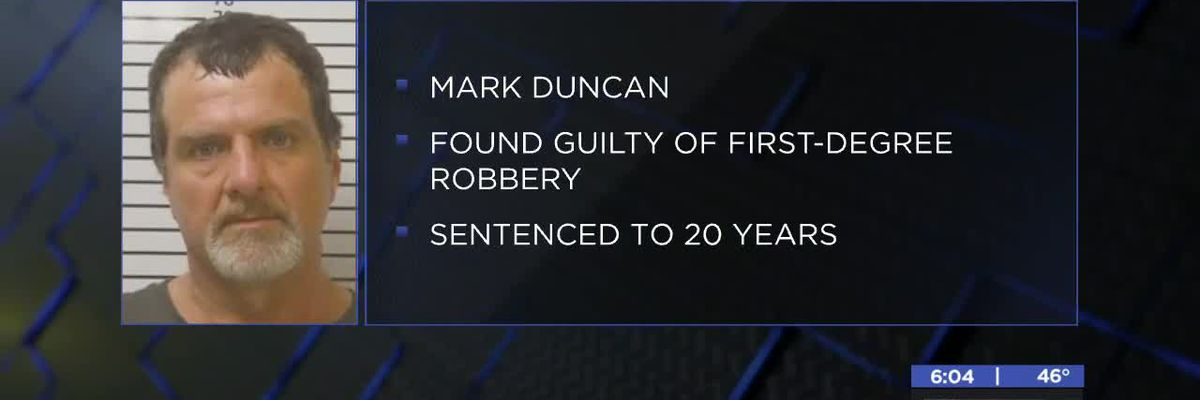 Duncan man sentenced to 20 years for robbery