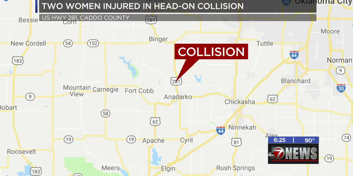 Two women hospitalized after head-on collision in Caddo County