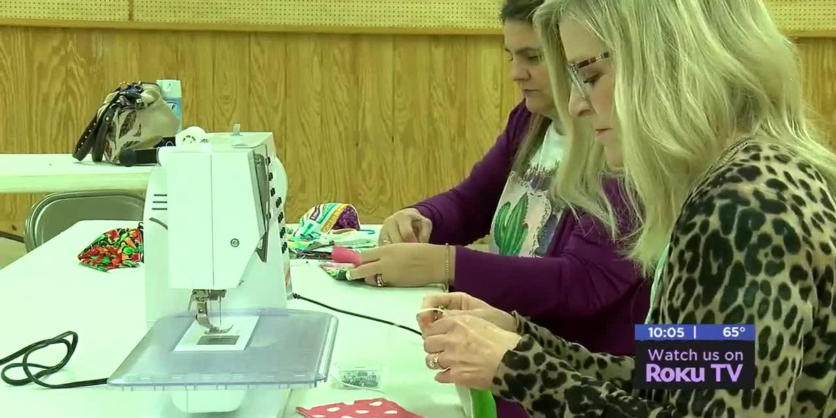 Local seamstresses creating face masks for medical workers