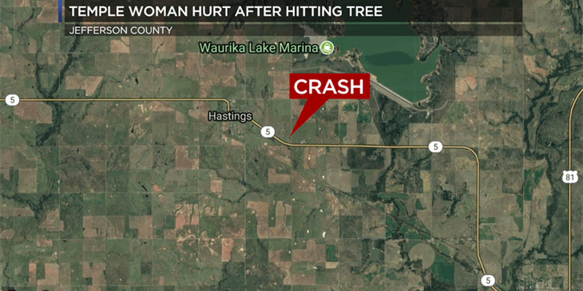 Temple woman hurt after crashing into tree