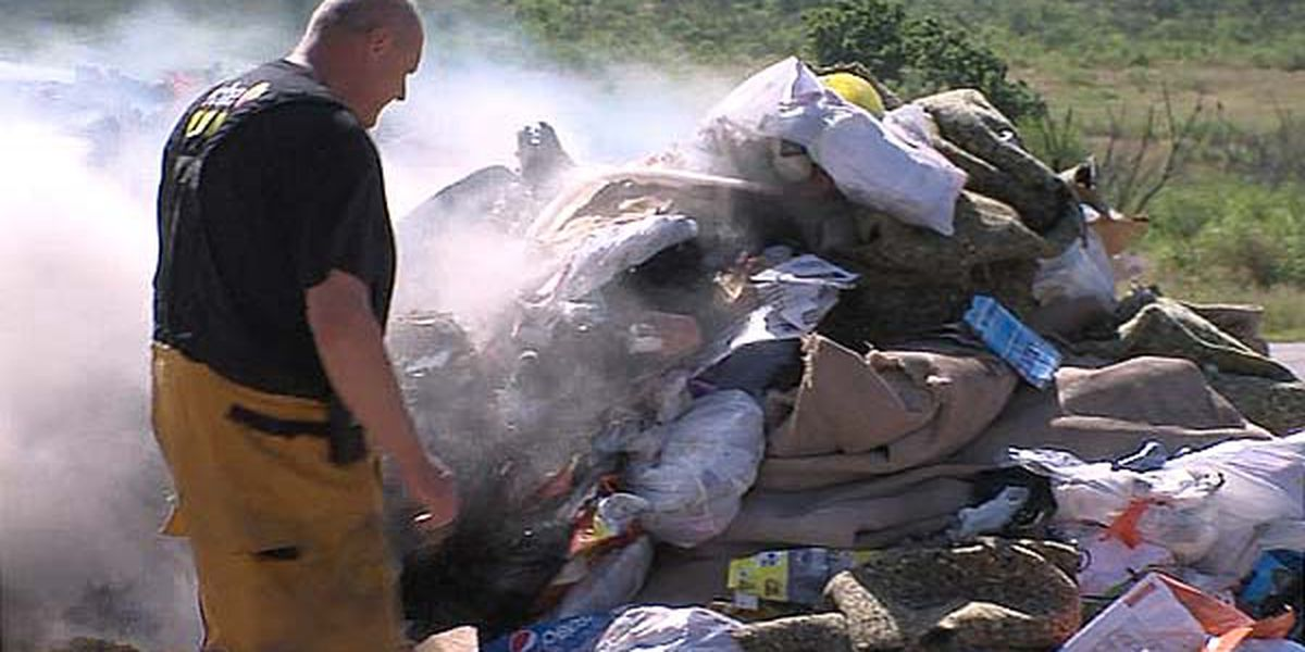 Garbage catches fire while in truck