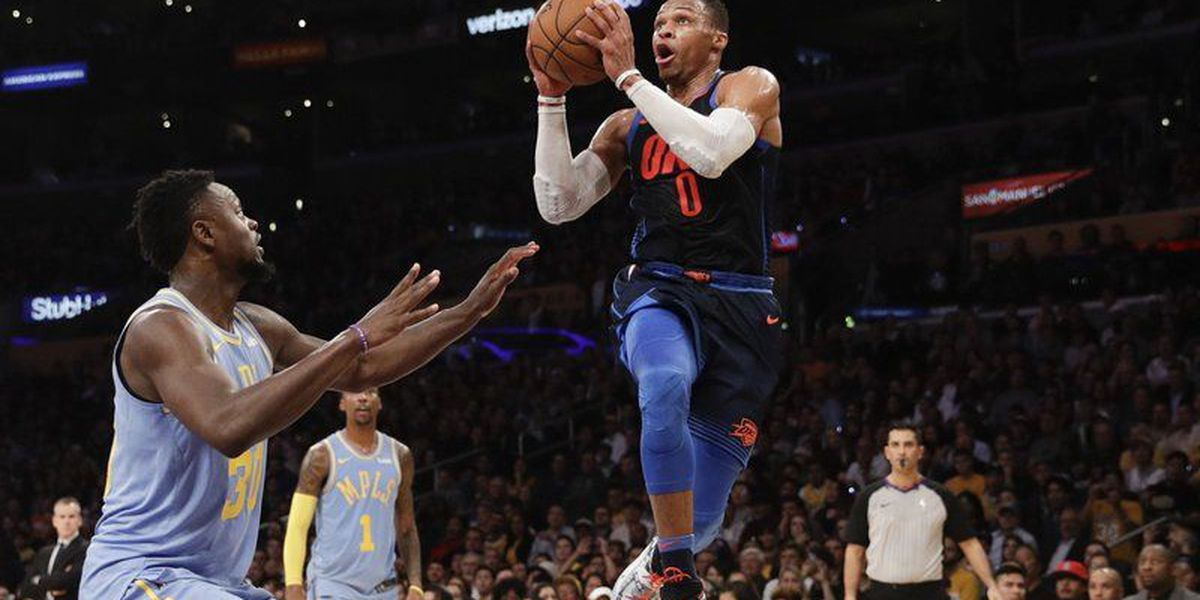 Westbrook, Thunder roll to 133-96 win over skidding Lakers