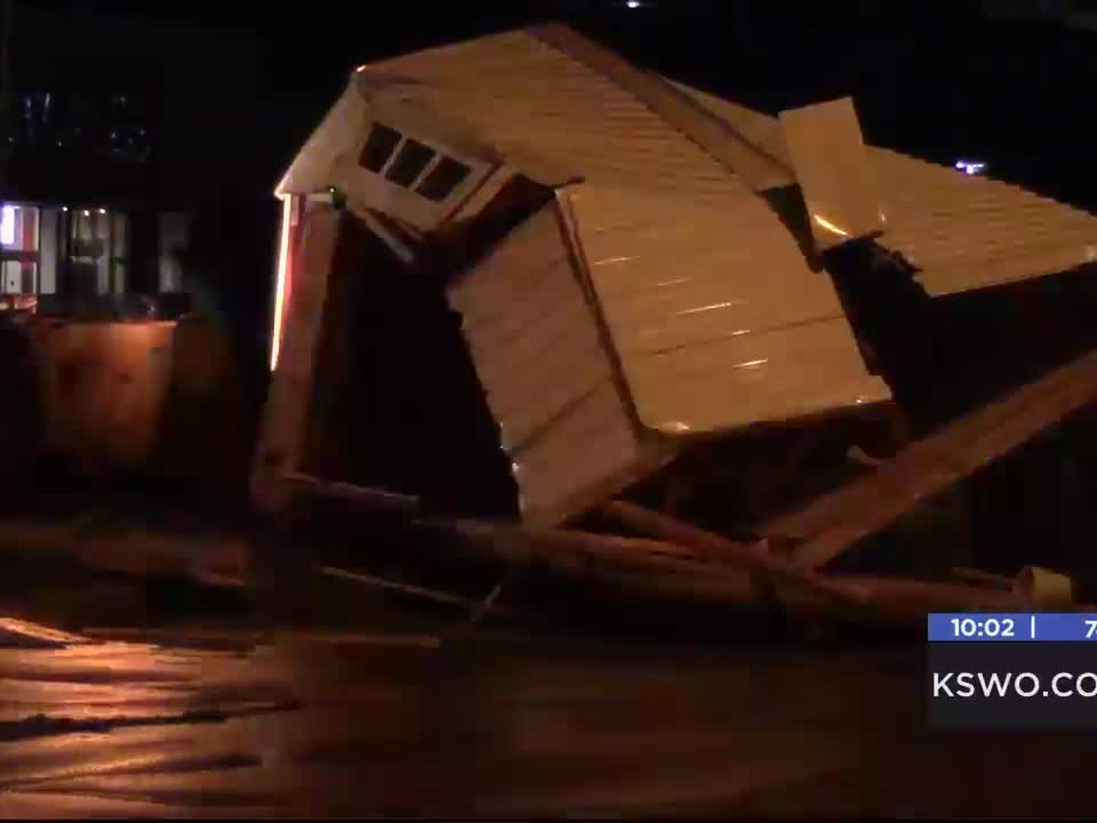 Storm pushes shed to middle of Sheridan Rd.