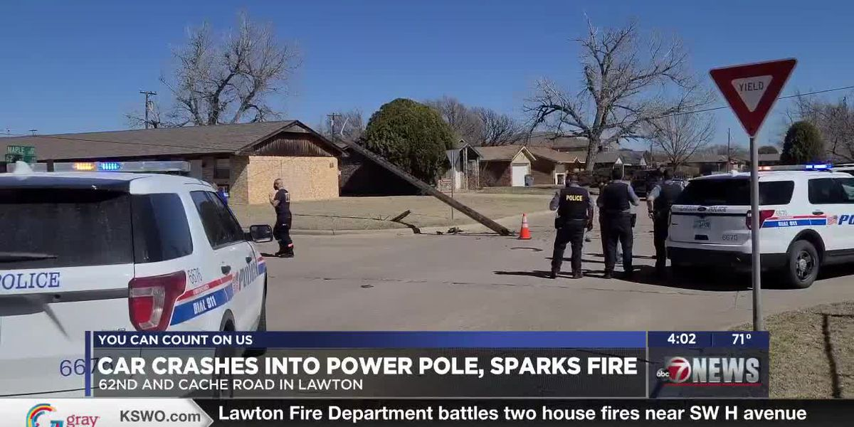 Car accident in Lawton takes down power pole