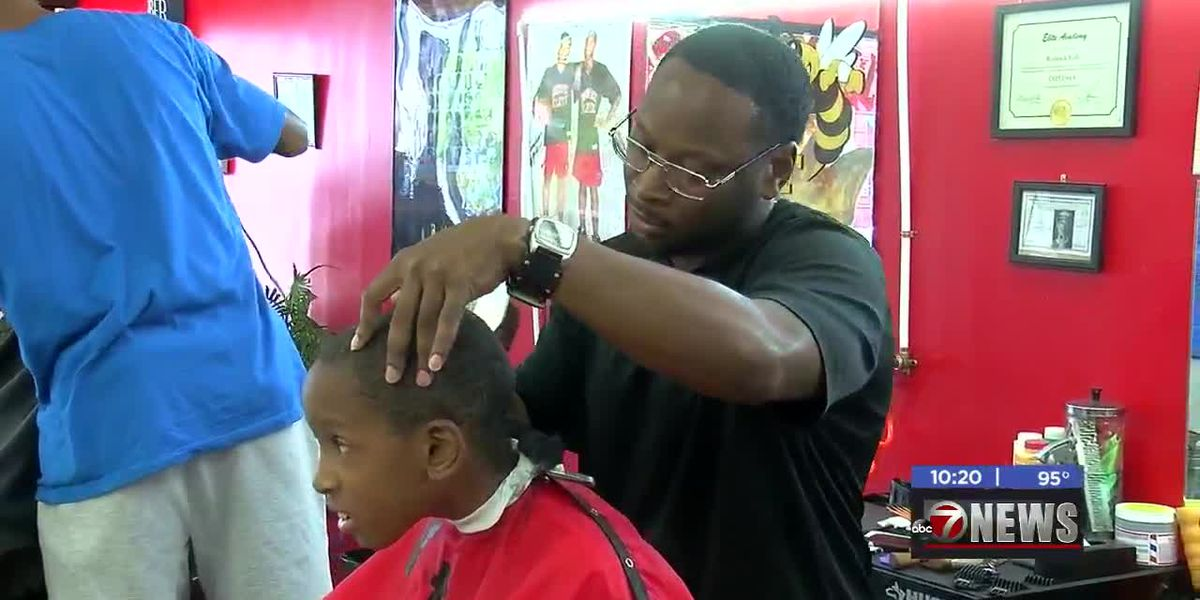 Lawton barbershop hosts back to school giveaway