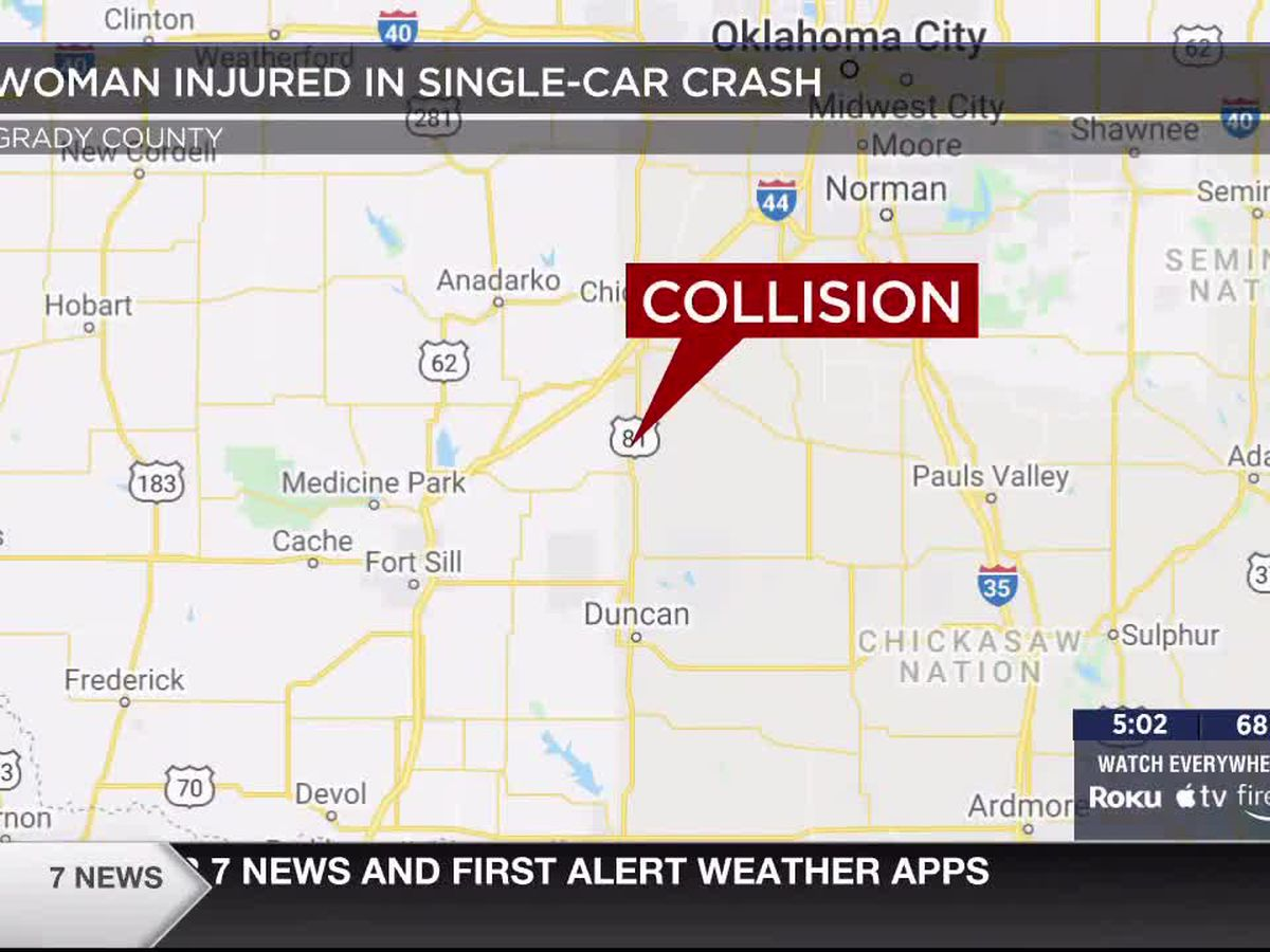 Woman injured in Grady County single-car crash