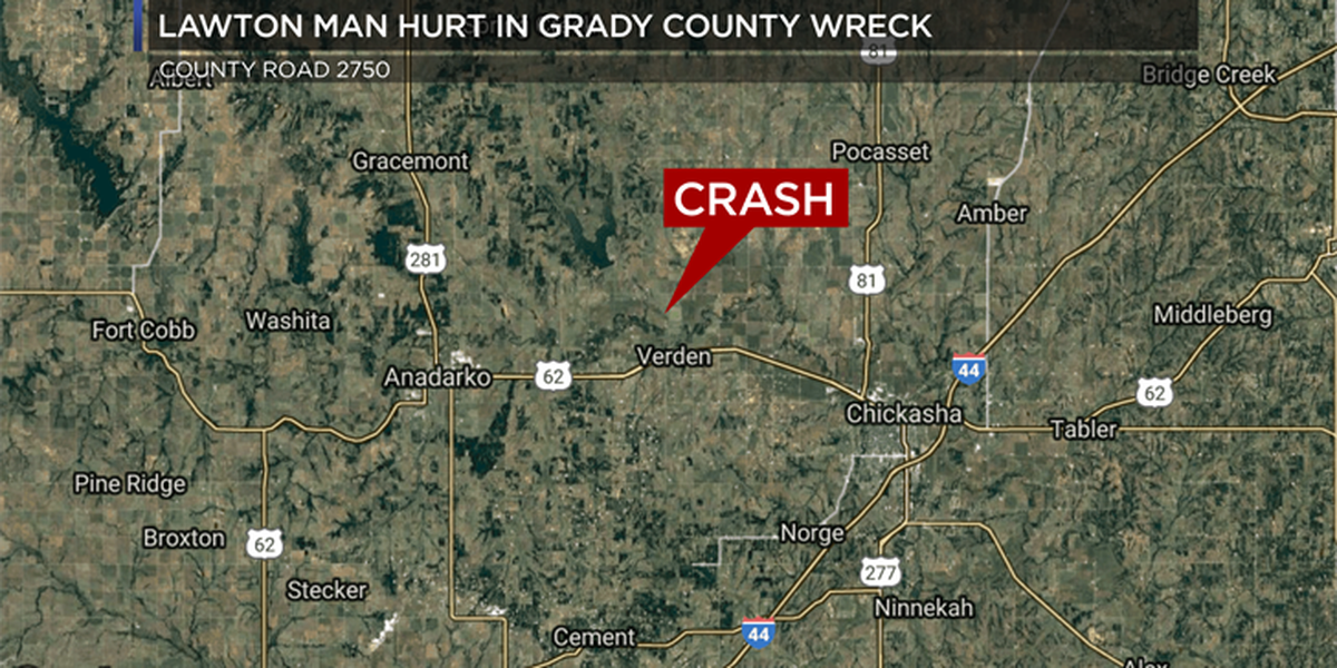 Lawton man hurt in Grady County crash