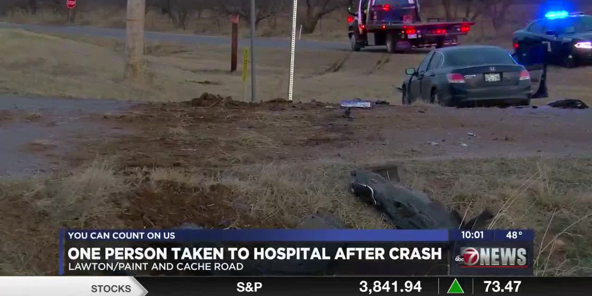 Car ends up in ditch after crash on Paint Road