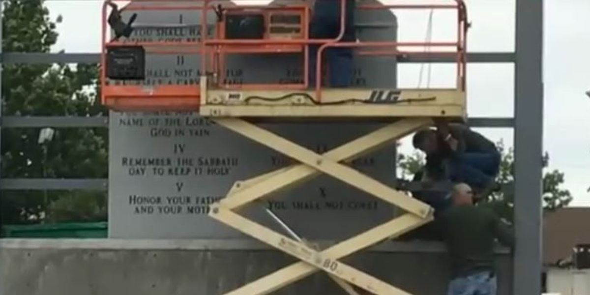 Church erects 10 Commandments monument in downtown Lawton