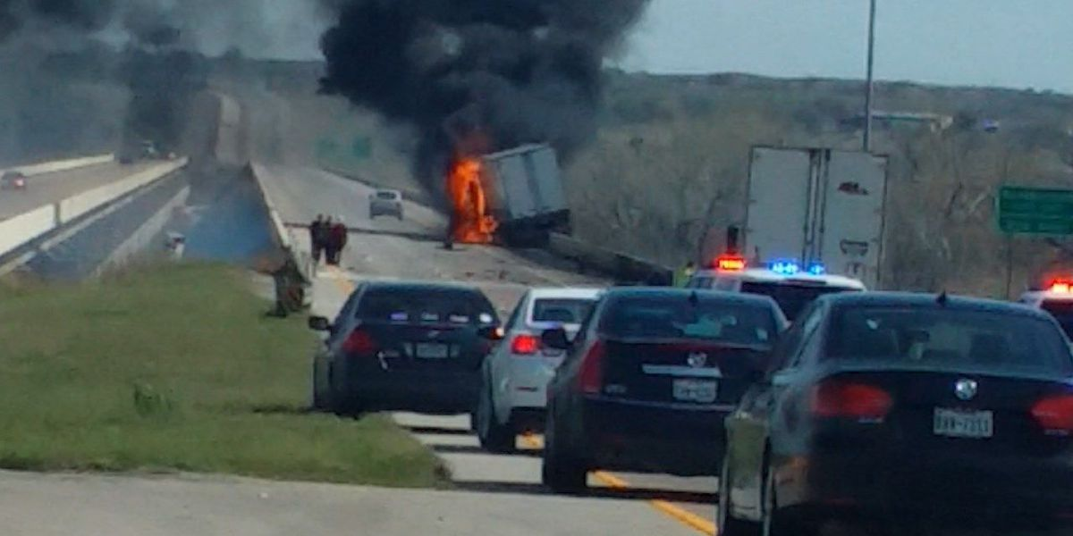Semi-truck fire shuts down northbound I-44 at Red River