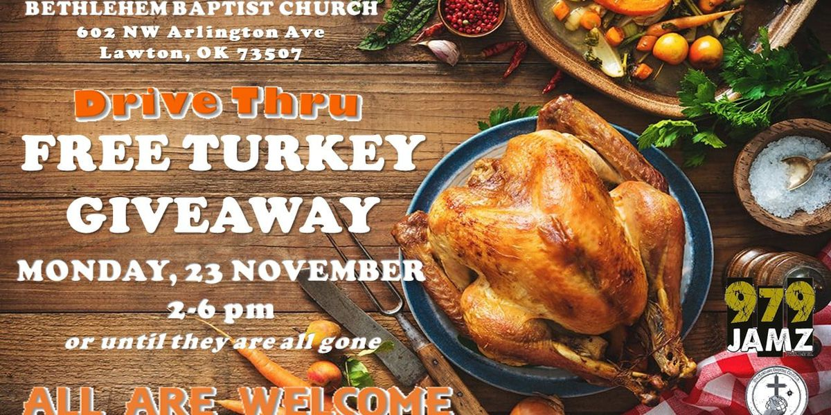 Free Thanksgiving turkey giveaway set for Monday at Bethlehem Baptist