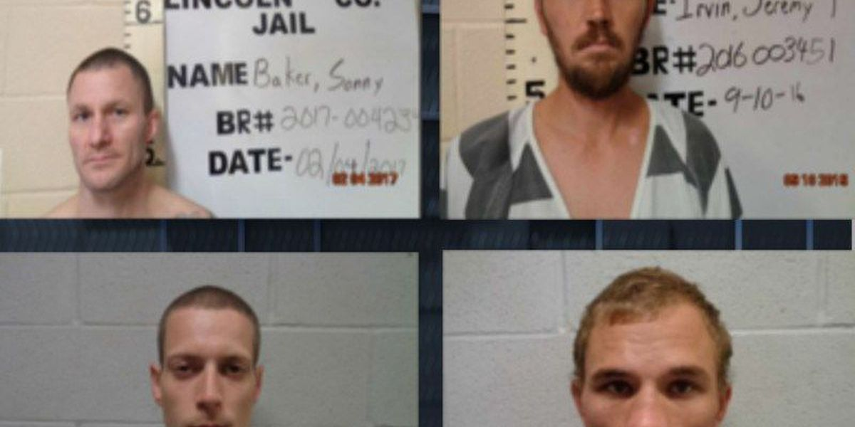 Lincoln County authorities search for 4 escaped jail inmates