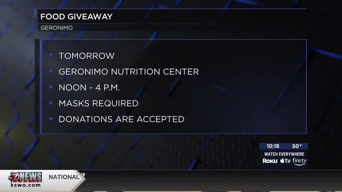 Food giveaway to be held at Geronimo Nutrition Center