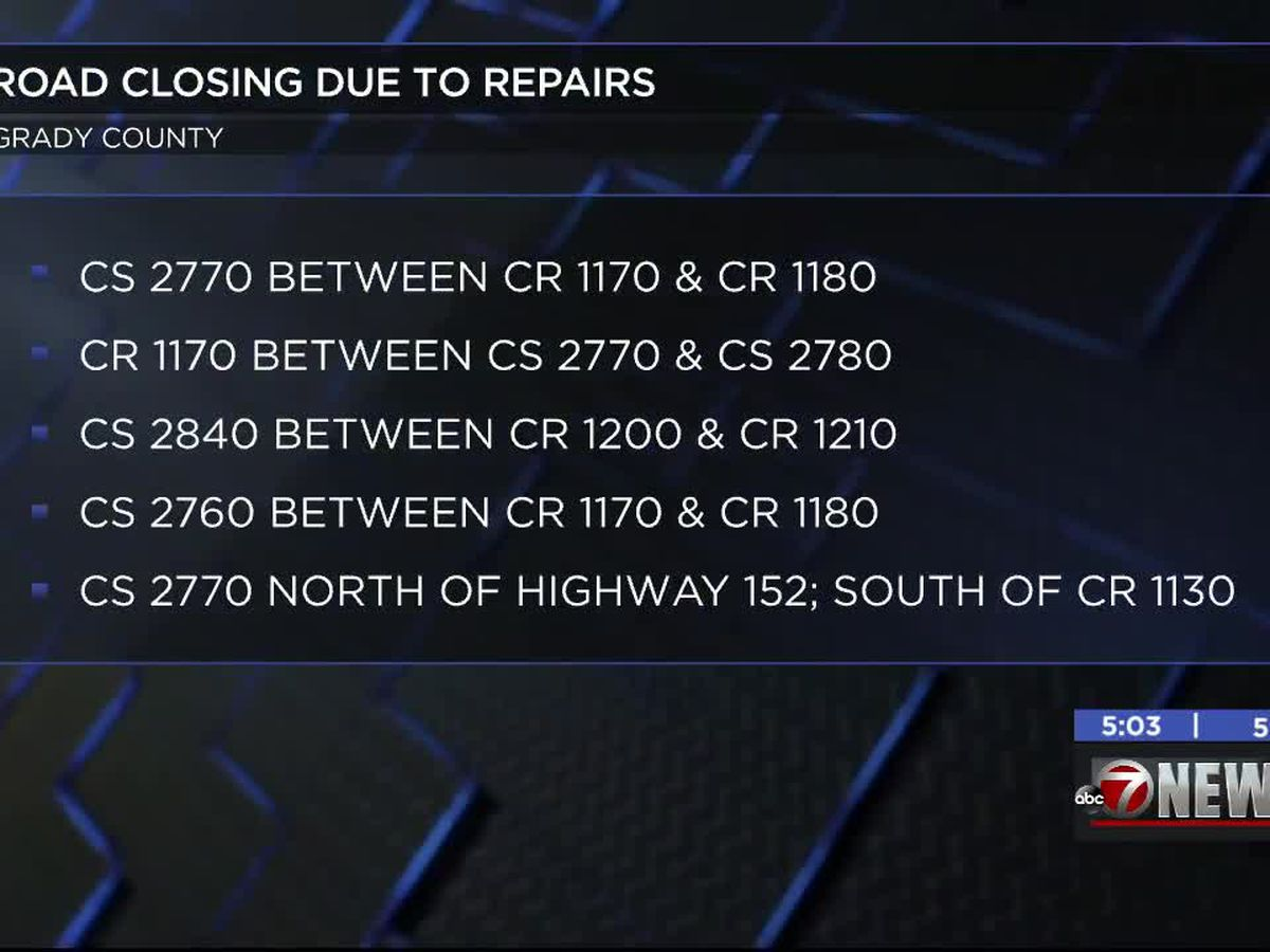 Grady County roads closed for repairs