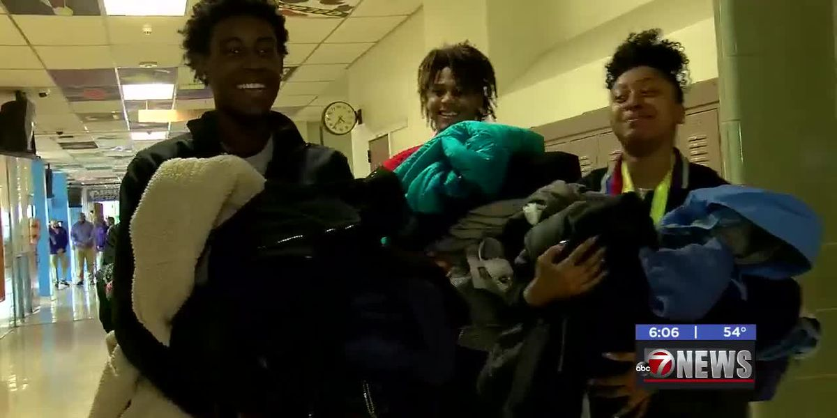 Local fraternity gathered coats for Eisenhower High's clothing closet