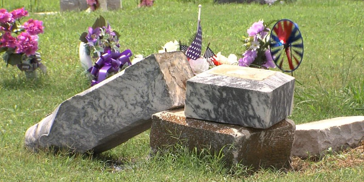 Police believe weather responsible for cemetery damage