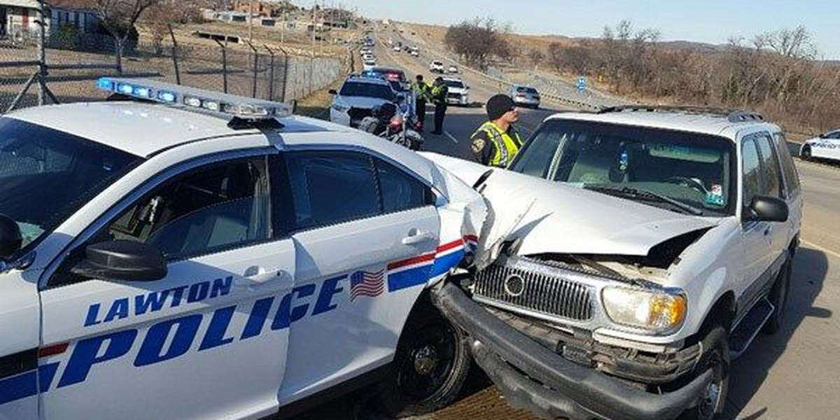 Lawton officer's car rear-ended while helping motorist