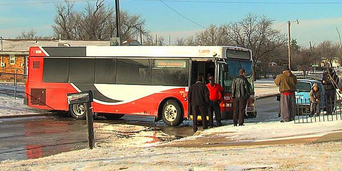 LATS bus hits mailbox, car on icy road